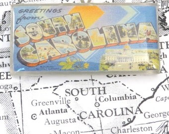 Greetings from SOUTH CAROLINA Vintage Large Letter Postcard Pendant