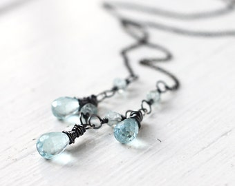 Aquamarine Necklace, Wire Wrapped with Oxidized Sterling Silver, Light Blue March Birthstone - Icicles