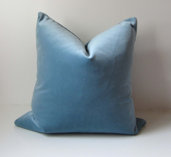 Blue Velvet Pillow Decorative Pillow Cover 21 inch
