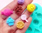 Flexible Mold Silicone Mold (Cupcake Lollipop Candy Cake 8pcs) Kawaii Gumpaste Fondant Cupcake Topper Miniature Sweets Scrapbooking MD035