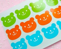 Bear Sticker Set (Green, Orange & Blue / 24pcs) Seal Sticker - Scrapbooking Packaging Party Gift Wrap Diary Deco Collage Home Decor S084
