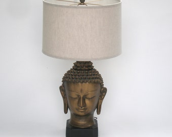 Mid Century Buddha Head Lamp / Signed Plasto Co