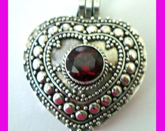 """Heart Shape Sterling Silver locket box  Pendant with Round Red Garnet January Birthstone with 24"""" rollo chain PL8"""