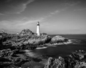 Portland Head Light, Portland Maine, Fine Art Black and White Photography, Lighthouse Art, Lighthouse Decor, Maine Art