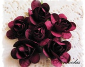 Paper Roses 1 1/4 inch Burgandy Set of 6