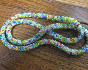 Hand Crochet Seed Bead Necklace 23 Inches