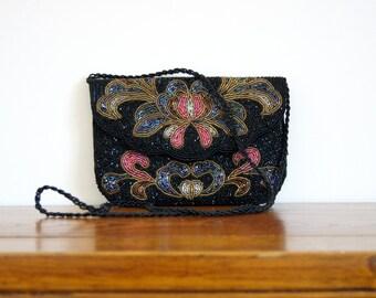 Black Beaded Formal Handbag Fancy Purse Floral Long Strap Art Deco