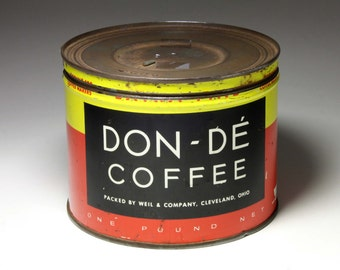 Vintage Coffee Can by Don - De Coffee - circa 1950's