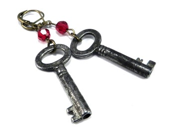 Vintage BRIDAL Antique KEY Earrings, Red Scarlet Crystal Antique Skeleton Key, Upcycled Earrings Victorian Steampunk by Compass Rose Design