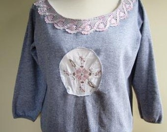 Victorian Sweatshirt Upcycled Embellished Lace Baggy Grey Granny Chic - Size Large