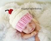 Newborn Baby Cupcake Hat, Baby Girl Hat, Knit Newborn Cupcake Hat, Preemie - 24 Months, Baby Photography Prop, Newborn Photo Prop