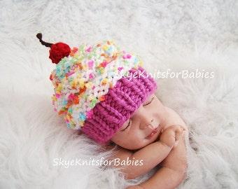 Baby Cupcake Hat, Newborn Cupcake Hat, Newborn Props, Knit Baby Hat, Baby Cupcake Beanie, Newborn Hat, Newborn Photography Prop