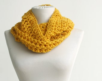 Yellow spring scarf Thin size infinity neckwarmer circle crochet Spring accessories Valentines day