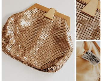 1940s Art Deco Style Whiting and Davis Gold Mesh Purse