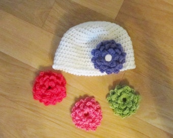 Baby Crocheted Hat with A Flower Removable and Interchangeable