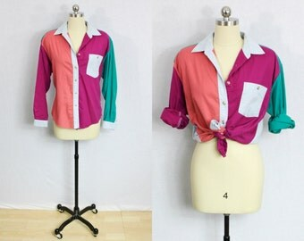 Vintage Color blocked bright chambray shirt