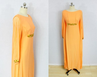 Vintage Orange chiffon bohemian maxi dress