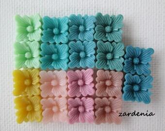 18PCS - Spring 2014 Sampler Pack - 9 Colors  - Buttercup Resin Flower Cabochons - 12mm - Matte