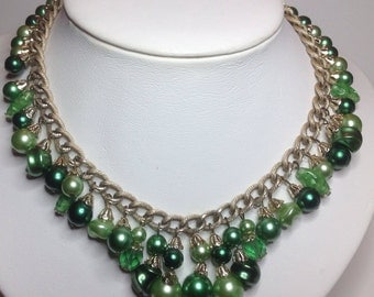 Vintage Emerald Green Mint Glass and Faux Pearl Dangly Necklace Gold-tone Metal Chains 1960's Mad Men Style