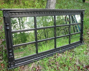 Black mantel   mirror  -  headboard mirror   -  black distressed mirror - multipane  mirror