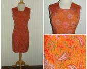Reduced, was 20.00, 1960s Paisley/Leaf Print Dress, ORANGE, Size Medium, #45502