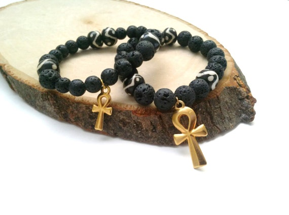 Mens black stretch bracelet- Ankh bracelet- lava bracelet