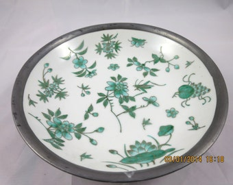 Vintage China Bowl Pewter Liner Porcelain Bowl Teal Green Flowers on White 8 inch Diameter Japanese Decorative Candy Home Decor Bowl
