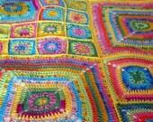 Crochet Pattern J'adore Floral Granny Square Crochet Blanket Afghan PDF Instant Download