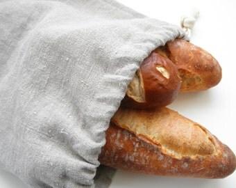 Natural Linen Bread Bag, Bread Bag, Reusable Bread Keeper, 100% Flax Linen