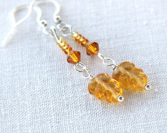 Summer Party Gift Delicate Honey Amber Earrings Glass Earrings Leaf Earrings Tiny Ombre Seed Bead Earrings Swarowski Crystal Earrings