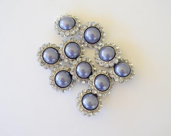 CLEARANCE! 12 Lavender Acrylic Pearl and Rhinestone Buttons, 26mm