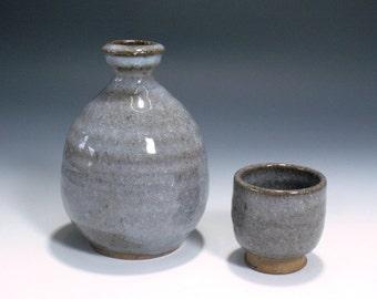 Sake set with guan glaze and 1 cup