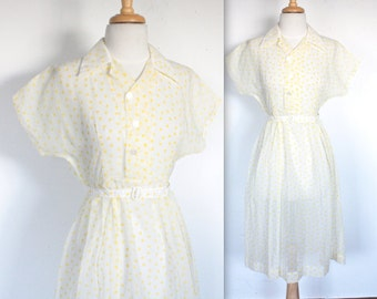 Vintage 1940's Dress // 40s 50s Sheer White and Yellow Polkadot Summer Dress // DIVINE
