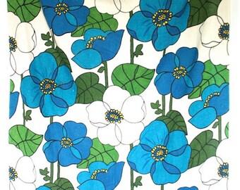 2 Vintage 1960s /70s Blue Floral Curtain Panels