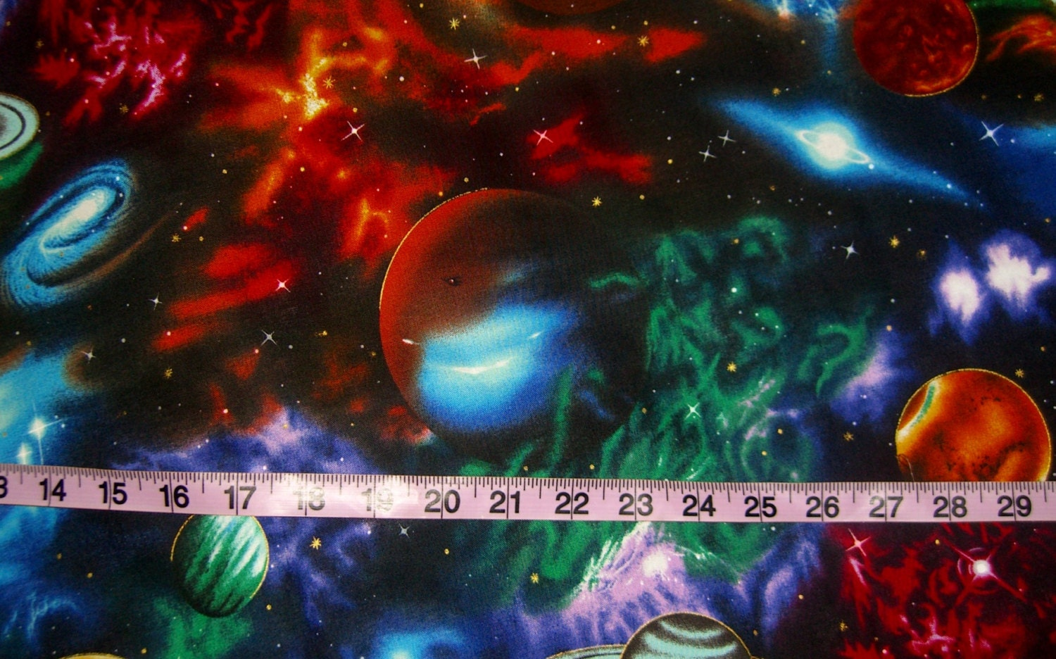 Space fabric for quilting galaxy planets astronomy stars quilt for Space fabric