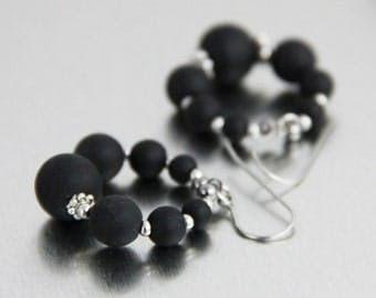 Around We Go - Matte Black Sea Glass Metallic Silver Tone Circle Hoop Earrings - Classy Modern Short Beaded Dangle Earrings