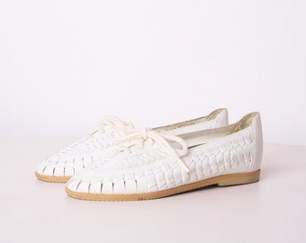 White Leather Huaraches - Children's Huaraches - Kids Vintage Shoes - Woven Leather  - 70s White Leather Loafers -
