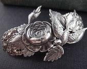 Victorian Garden barrette-aged silver brass-Victorian-bridal-medieval-shabby chic-steampunk H018