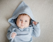 Baby Toddler Boy Knit Hoodie sweater Baby clothing Coming home clothes Baby gift Light Sky Blue