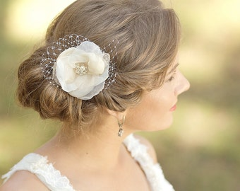 Bridal hair piece, Bridal headpiece, Wedding Hair accessories, Champagne flower hair clip, Flower fascinator
