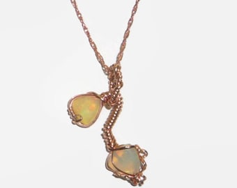 Wire Wrapped Ethiopian Opal Necklace14K Rolled Rose Gold