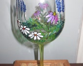 Wine Glass Garden Coneflowers Lupines Daisy Flowers Hand Painted