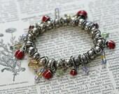 Vintage Bracelet Handmade Lady Bug Silver Tone Bead Charm Bracelet