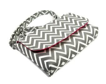 Small Gray Chevron Purse, Mini Messenger Bag, Chevron Pocketbook, Gray and Pink Crossbody Bag - Gray Chevron Bag, Long Adjustable Strap