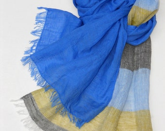 Blue striped linen unisex scarf, long washed sky blue mustard gray summer scarf, original gauzy linen shawl for him or her