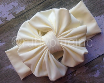 Ivory Messy Bow Head Wrap - Ruby Wrap