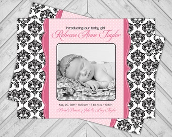 Damask birth announcement cards - pink baby announcement photo cards - black and white - polkadots - printable or printed - baby girl (218)