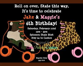 Roller Skate Birthday Invitation, Roller Skating Party Invitations, Printable or Printed