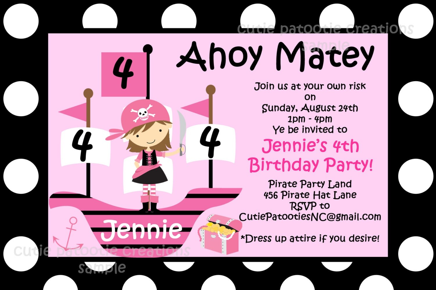Unusual Girl Pirate Party Invitations Photos - Invitation Card Ideas ...