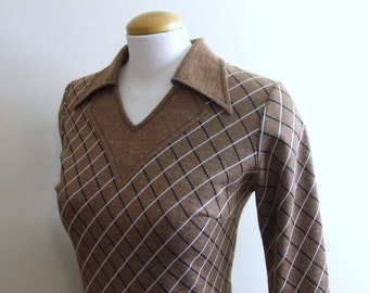 Brown Plaid Pointed Collar Dress - Medium